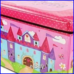 Large Padded Toy Storage Trunk Organiser Box For Kids Wooden Chest Seat Folding