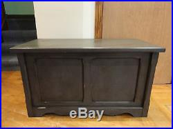 Large Painted Grey Solid Pine Blanket Chest Toy Box Storage Ottoman Coffee Table