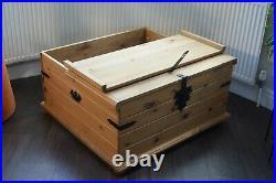 Large Pine Blanket Box Trunk Storage Twin Lidded Coffee Table