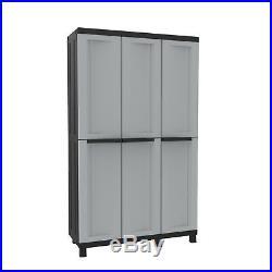 Large Plastic Garden Storage Box Adjustable Shelves Tall Wardrobe 3 Doors Grey