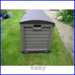 Large Plastic Garden Storage Box Lockable Waterproof Wheels Shed Outdoor Garage
