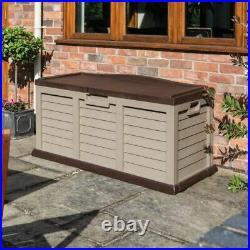 Large Plastic Garden Storage Box Outdoor Wheels Lockable Waterproof Shed Garage