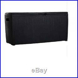 Large Plastic Keter Dark Grey Garden Garage Rattan Storage Box Store Outdoor New