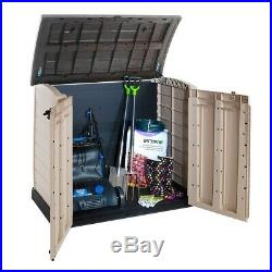 Large Plastic Storage Box Garden Outdoor Shed Bins Tools Bikes Lawn Mowers Patio