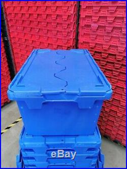 Large Plastic Storage Crates with Lids (Ex-Rental Stack of 10)