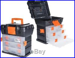 Large Plastic Tool Box with Carry Handle Storage Case Organiser Compartments #O