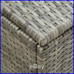 Large Poly Rattan Outdoor Garden Storage Chest Cushion Box Waterproof Sit On Lid