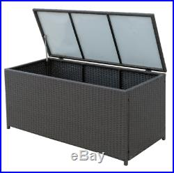 Large Rattan Storage Box Outdoor Patio Trunk Garden Patio Chest Deck Container