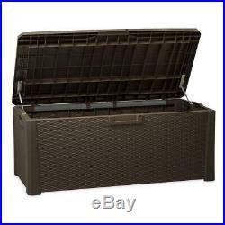 Large Rattan Storage Box Plastic 551L Garden Toys Organizer Cushions Waterproof