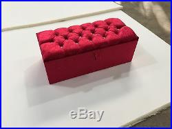 Large Red Crush Velvet Ottoman, Toys Storage, Footstool, Ottoman Box