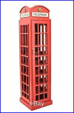 Large Red Telephone Box Wine Rack Glasses Holder Wooden Cabinet Storage