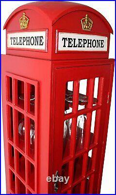 Large Retro Telephone Box Wine Rack Bottle Storage Cabinet and Glasses Holder