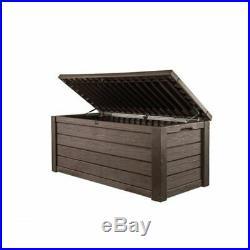 Large Rustic Plastic Garden Storage Deck Storage Outdoor Box 570L Brown New