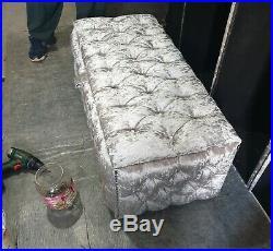 Large Silver Crushed Velvet Ottoman, Toys Storage Footstool, Blanket Box