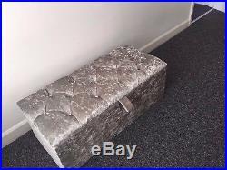 Large Silver Crushed Velvet Ottoman, Toys Storage, Footstool, Ottoman Box