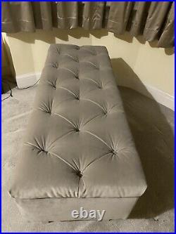 Large Slate Grey Velvet Ottoman, Toys Storage Footstool, Blanket Box