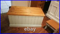 Large Storage Chest Trunk Ottoman Blanket Bench Toy Box Solid Wood Country