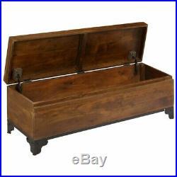 Large Storage Chest Vintage Solid Wood Trunk Blanket Bedding Box Antique Table