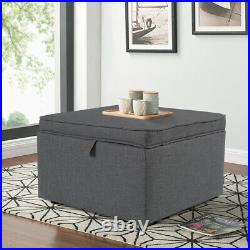 Large Storage Coffee Table Ottoman Linen Fabric Square Organizer Stool Chest Box
