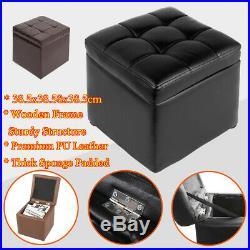 Large Storage Stool Pouffe Ottoman Premimum PU Leather Seat Foot Rest ToyBox