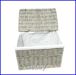 Large Strong Wicker Willow Baby Nursery Storage Chest Trunk Blanket Box Lined