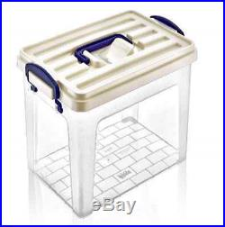 Large Tall Clear Plastic Storage Box with Carry Handle Caddy Container Boxes Tub