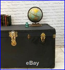 Large Travel Steamer Trunk Storage Box Linen Chest Coffee Table 1960s Vintage