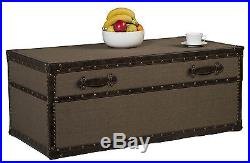 Large Upholstered Coffee Table Fabric Storage Trunk/Chest Vintage Blanket Box