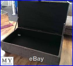 Large Upholstered Ottoman Folding Storage Pouffe Toy Box Foot Stool Chest Leon