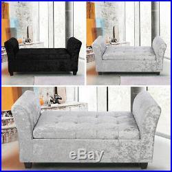 Large Velvet Fabric Crystal Window Seating Ottoman Storage Box Bench Bolanket uk