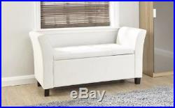 Large Verona White Faux Leather Window Seat Bench Footstool Ottoman Storage Box