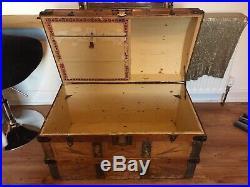 Large Vintage Antique Treasure Chest Pirates Wooden Storage Trunk Authentic Box