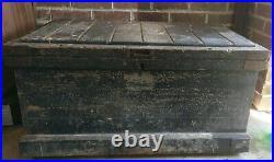 Large Vintage Carpenter's Chest Wooden Tool Box storage antique