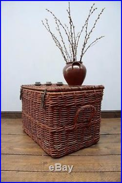 Large Vintage Wicker H&er Basket Blanket Box Log Storage Chest & large | Storage Boxes Large