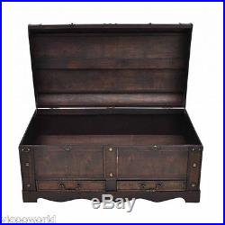 Large Vintage Wooden Treasure Storage Chest Box Wood Home Table Trunk Furniture