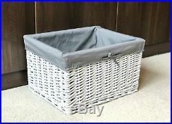 Large White Grey Wicker Storage Basket Box Gift Hamper Bathroom Bedroom Lined