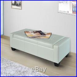Stupendous Large White Ottoman Leather Storage Bench Seat 2 Seater Big Dailytribune Chair Design For Home Dailytribuneorg