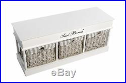 Large White Wooden Storage bench Hallway Entryway Unit Box Chest Wicker Baskets