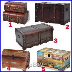 Large Wood Treasure Chest Box Toy Storage Trunk Antique Coffee End Side Table