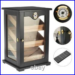 Large Wood Wooden Cigar Humidor Case Box Storage With Hygrometer Humidifier