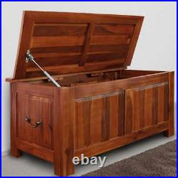 Large Wooden Blanket Box Storage Trunk Ottoman Solid Wood End-Of-Bed Storage New