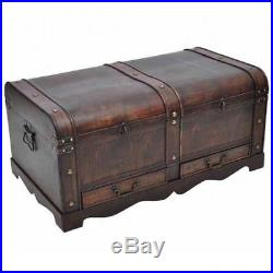 Large Wooden Chest Vintage Treasure Trunk Old Coffee Table Storage Box Drawers