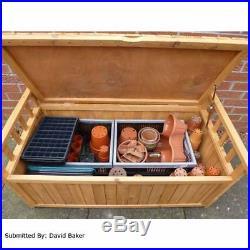 Large Wooden Garden Box Bench Storage Sturdy Unit Patio Furniture Workshop Tool