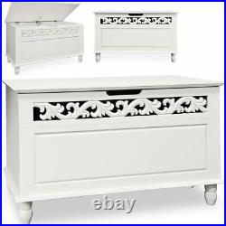 Large Wooden Ottoman Seat Sturdy Chest Box Toy Blanket Storage Unit Trunk Lid