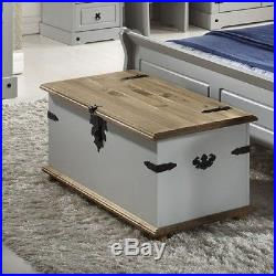 Large Wooden Storage Chest Vintage Chic Trunk Treasure Box Coffee Table Bedroom