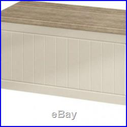 Large Wooden Storage Chest Vintage Cream Trunk Box Ottoman Bench Coffee Table