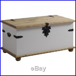 Large Wooden Storage Chest Vintage Grey Trunk Treasure Box Coffee Table Bedroom