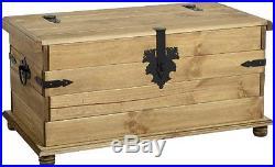 Large Wooden Storage Trunk Chest Box Solid Pine Blanket Vintage Home Furniture