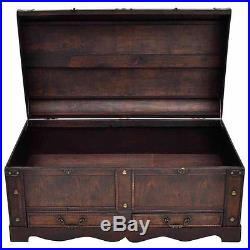 Large Wooden Treasure Chest Coffee Table With Storage Box Vintage Trunk Antique