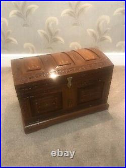 Large Wooden Treasure Chest With Storage Box Vintage Trunk Antique